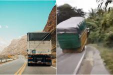Viral video truk lewati tanjakan hingga ban depan terangkat, ngeri