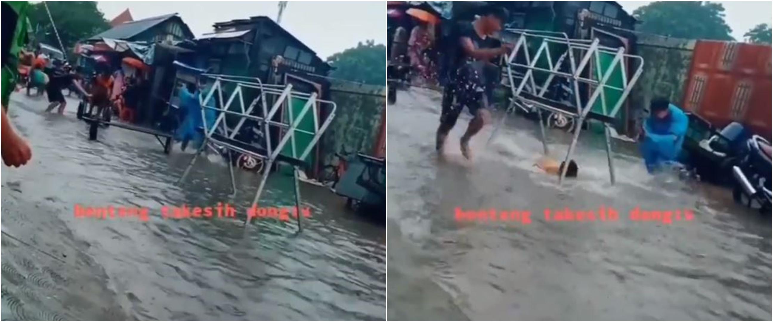 Viral warga manfaatkan banjir jadi Benteng Takeshi, bikin tepuk jidat