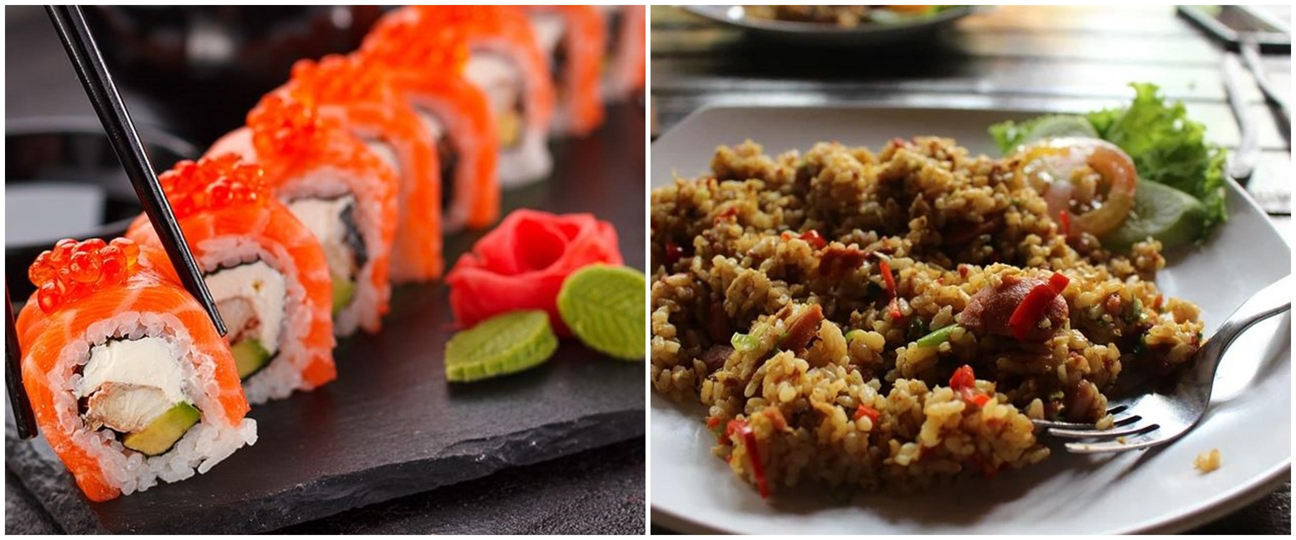 Aksi nyeleneh masak sushi jadi nasi goreng, biar nggak mubazir?