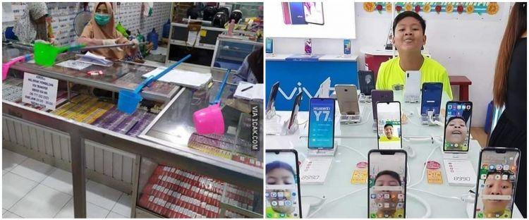 7 Aksi kocak warganet di konter, selfie pakai HP pajangan