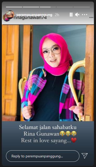 ungkapan kesedihan Si Doel Anak Sekolahan untuk Rina Gunawan Instagram