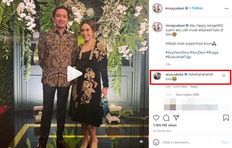 Postingan dikomentari Arya Saloka Ayu Dewi kegirangan Instagram