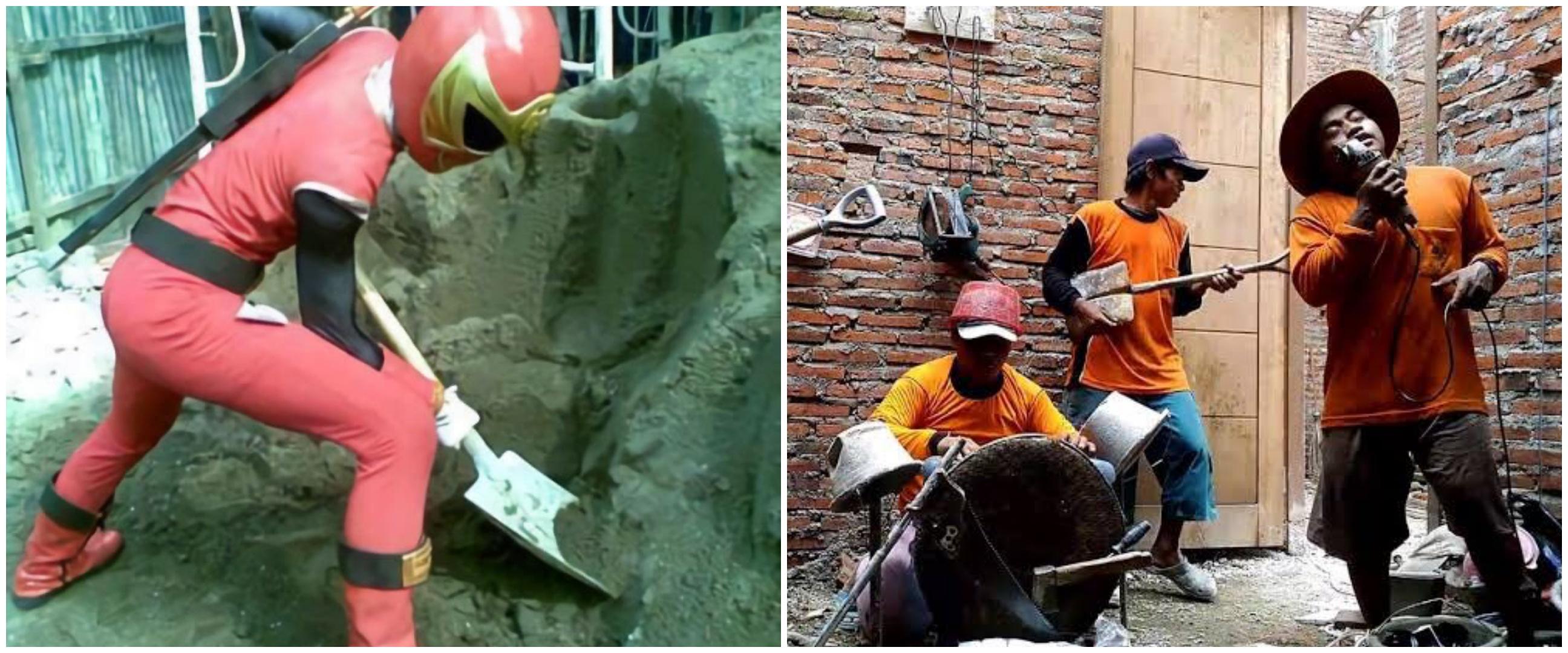 11 Aksi tukang bangunan menghibur diri pas kerja ini kocak abis