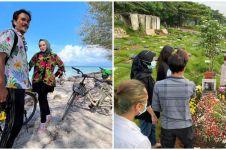 6 Momen Teddy Syach dan keluarga nyekar di makam Rina Gunawan