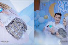 8 Momen akikah anak kedua Eza Gionino, dekorasinya serba biru