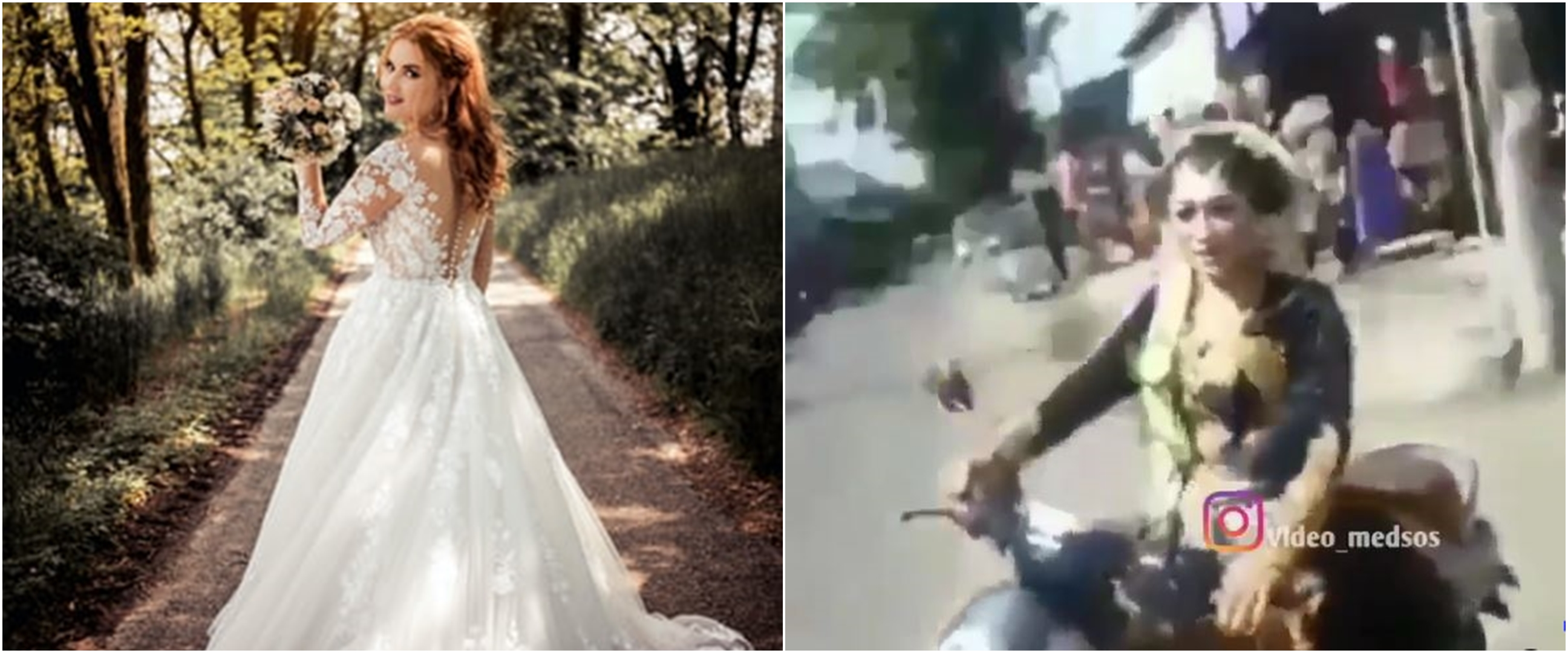Viral aksi wanita kenakan busana pengantin sambil kendarai motor