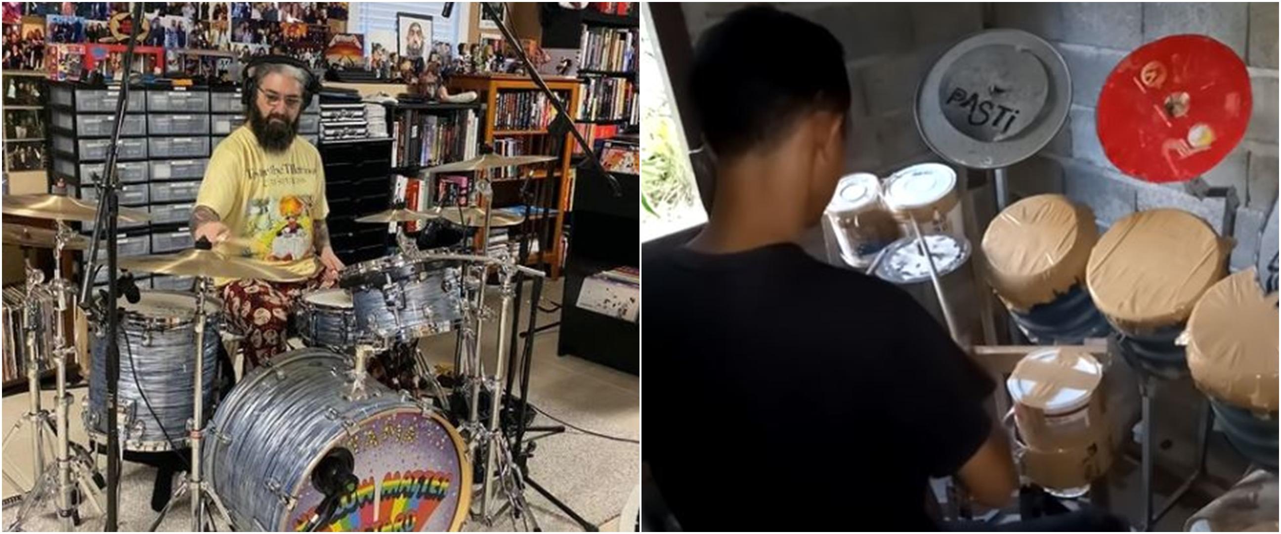 Main drum dengan ember bekas, aksi pria ini bikin salut Mike Portnoy