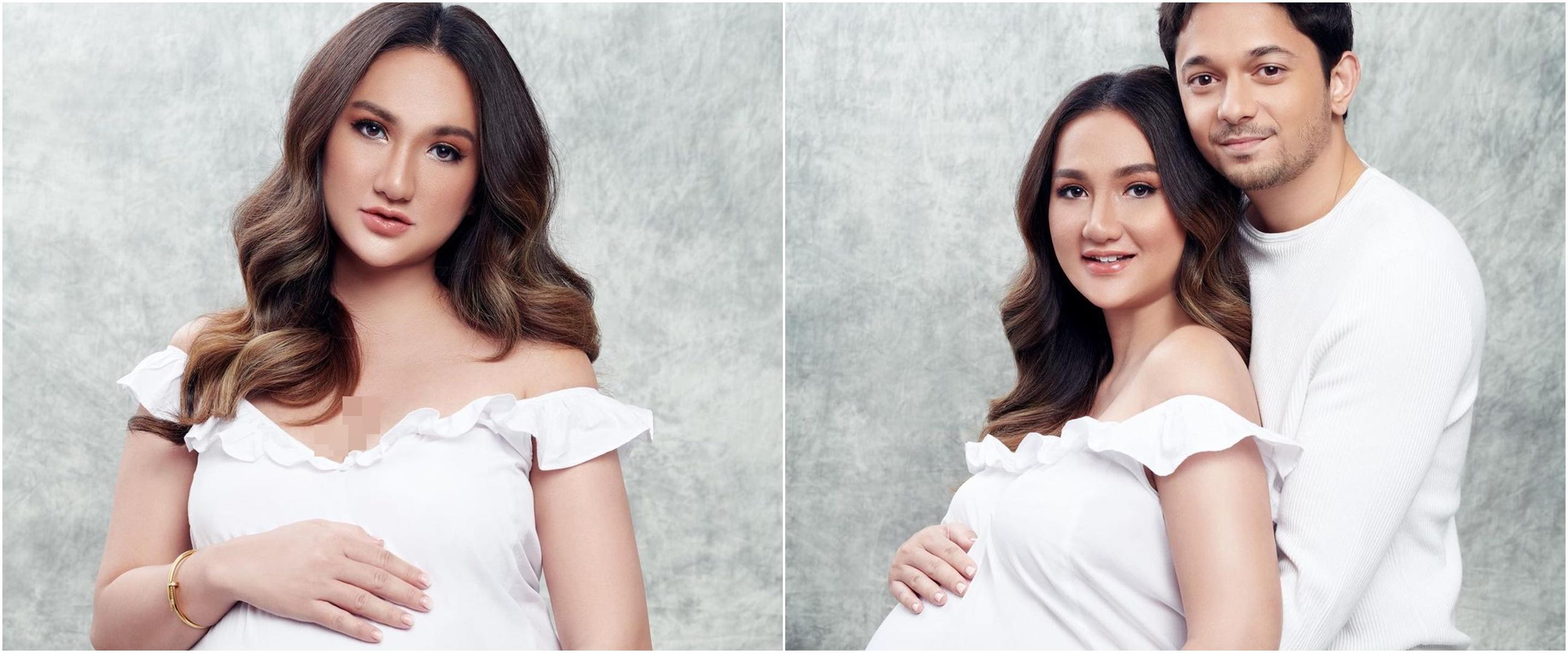 6 Potret maternity shoot Tengku Dewi dan Andrew Andika, serba putih
