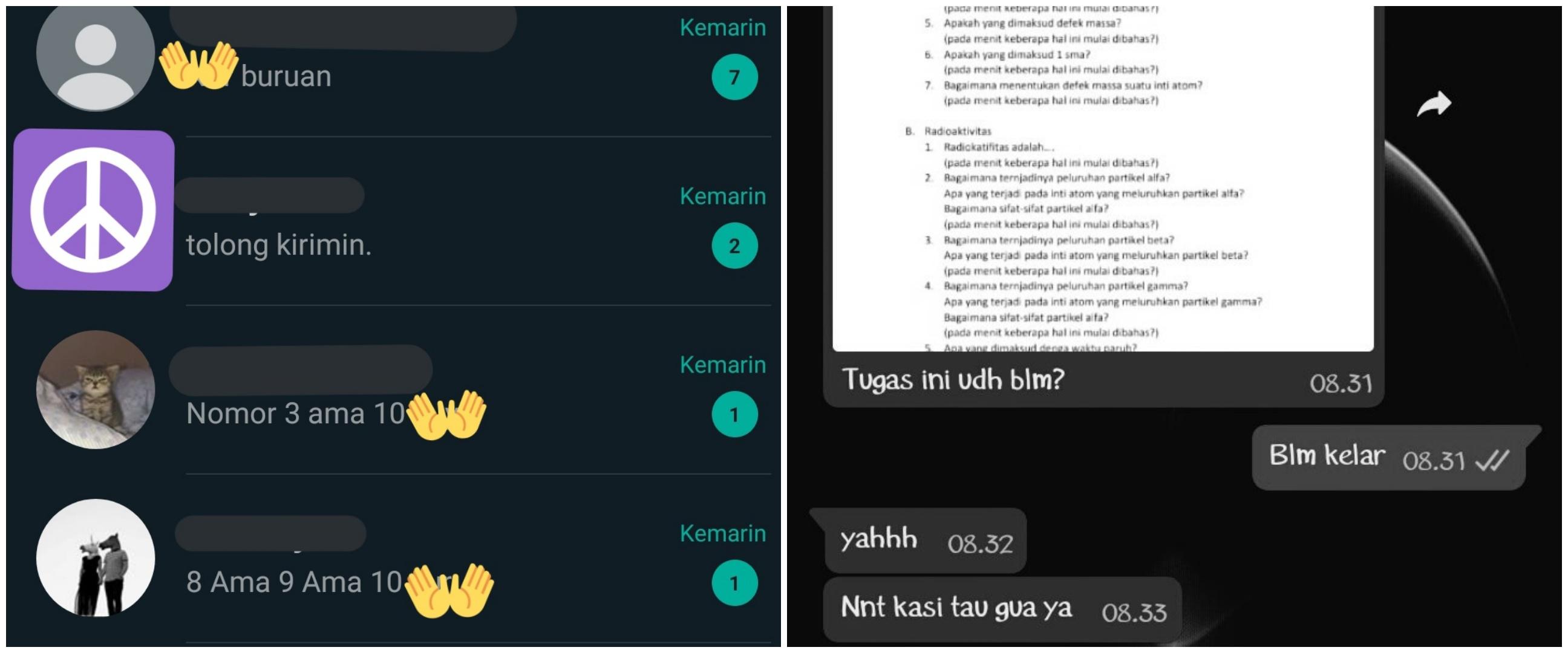 12 Chat minta contekan ini ngeselinnya menguji kesabaran