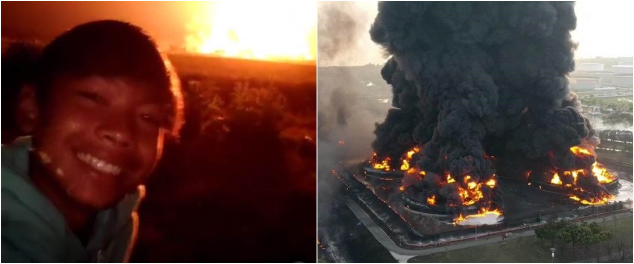 Viral remaja hangatkan diri di dekat kebakaran kilang minyak Indramayu