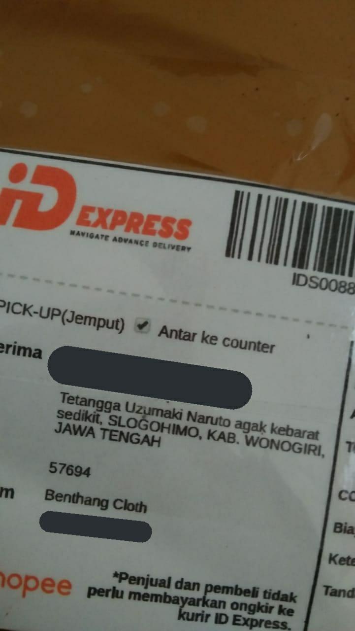 Patokan alamat kirim paket  © Twitter