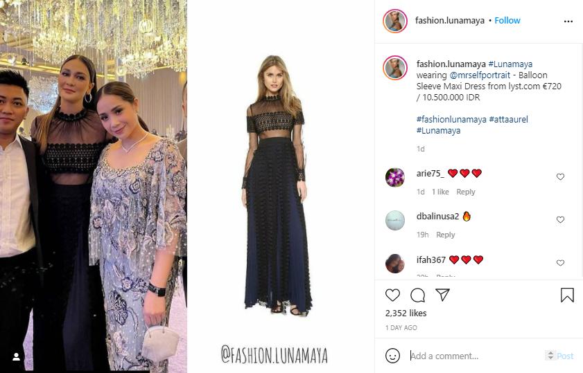 harga dress Luna Maya fantastis Instagram