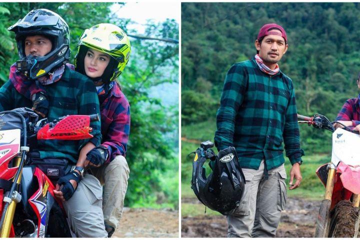 10 Momen Ririn Ekawati & Ibnu Jamil naik motor trail, jatuh tak kapok