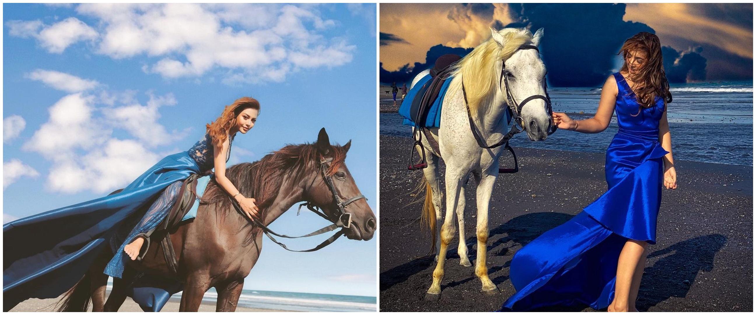 Beda gaya pemotretan 10 seleb berkuda, Aurel bak putri Disney