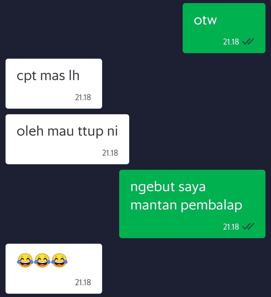 chat sapaan driver ojek © Twitter