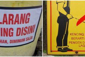 15 Pemberitahuan dilarang buang air kecil sembarang ini kocak abis