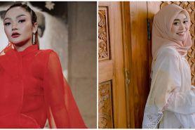 10 Beda gaya Siti Badriah dan Lesty Kejora saat kondangan, menawan