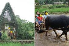 8 Momen liburan Widi Mulia dan keluarga di Bogor, Widuri bajak sawah