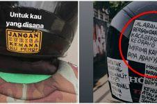 11 Tulisan lucu di helm driver ojek online ini bikin senyum yang baca