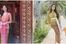 10 Beda gaya Natasha Wilona dan Celine Evangelista saat berkebaya