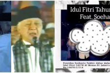 Momen berharga Presiden Soeharto pukul beduk sambil takbiran