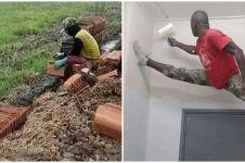 10 Aksi absurd tukang bangunan bikin dinding rumah ini kocak abis