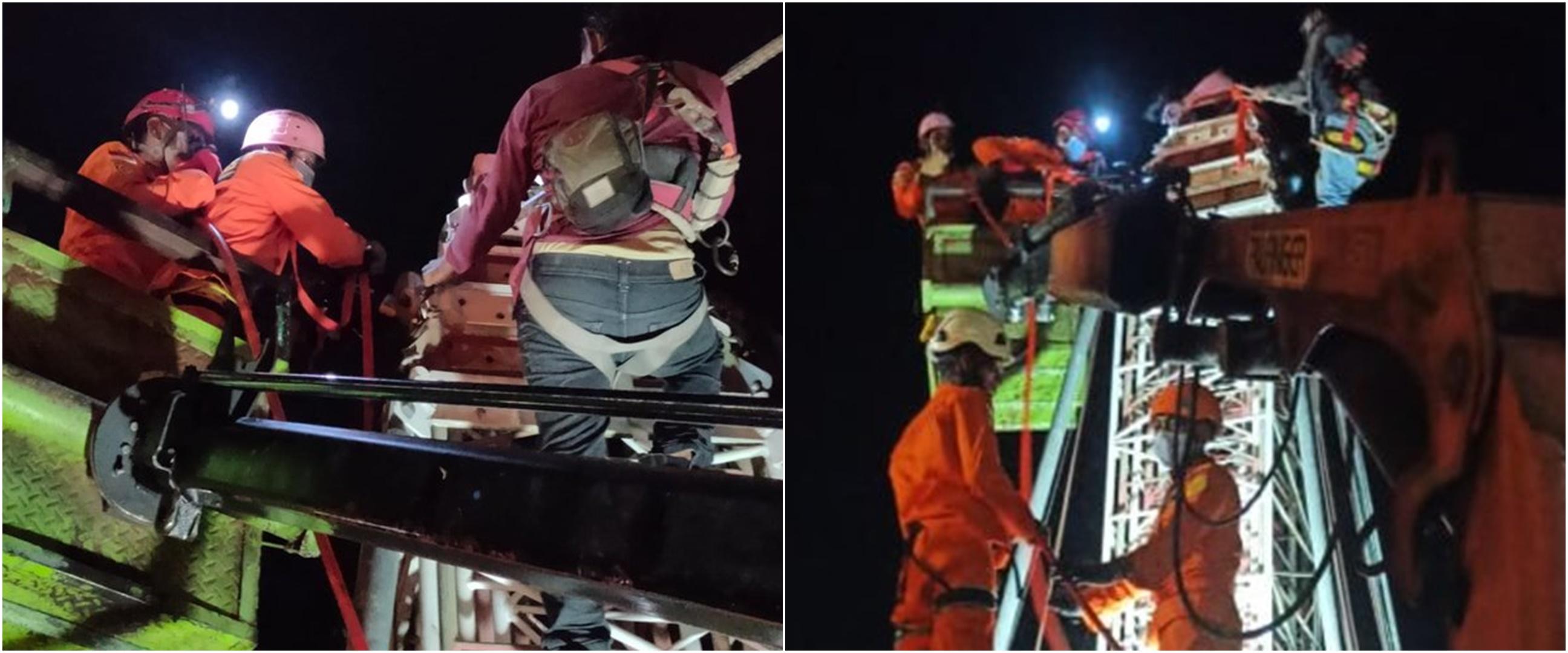 Aksi penyelamatan pekerja tower yang terjepit di ketinggian 15 meter