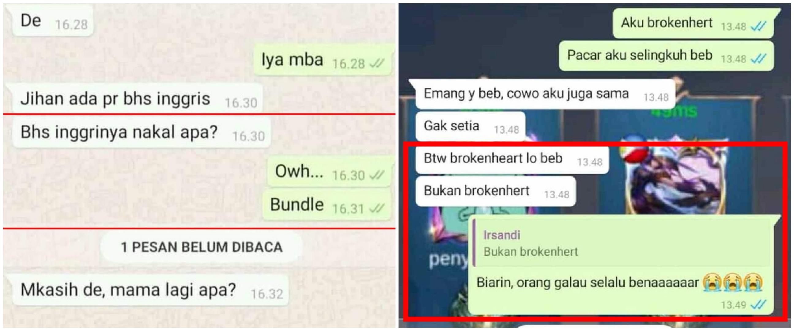 12 Chat WhatsApp lucu pakai bahasa Inggris ini bikin gagal paham