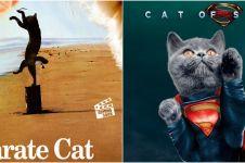 8 Potret poster film diedit dengan karakter kucing, kocak