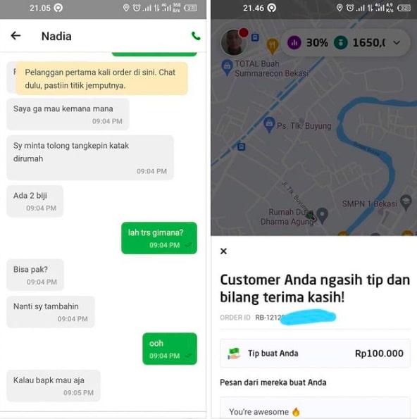 Momen driver ojol dapat uang tip © Instagram