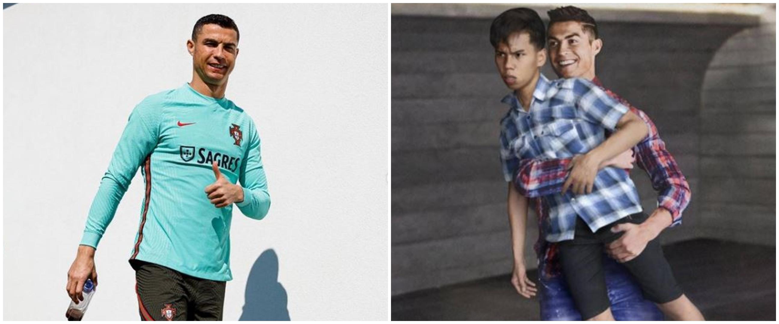 7 Editan lucu fans foto bareng Cristiano Ronaldo, absurd abis