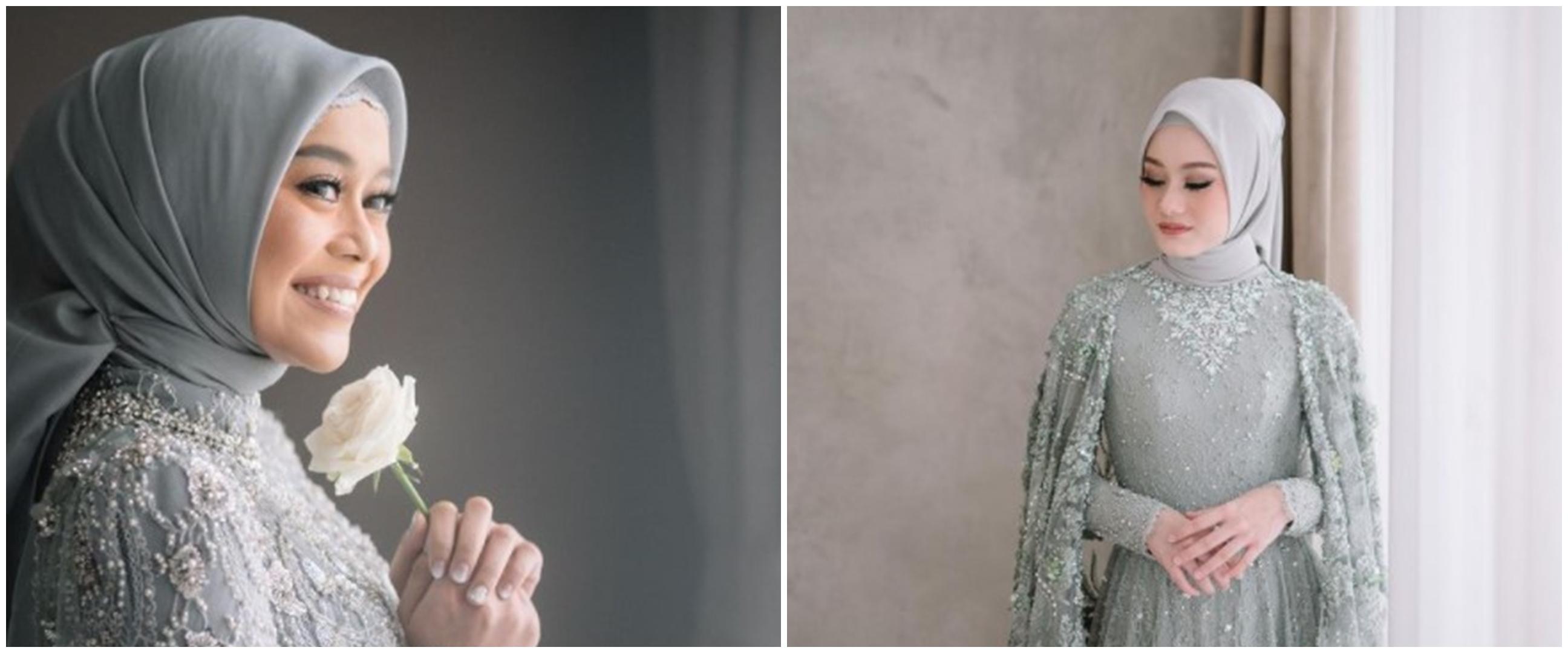 Berwarna mirip, ini 9 potret beda baju lamaran Lesty & Dinda Hauw