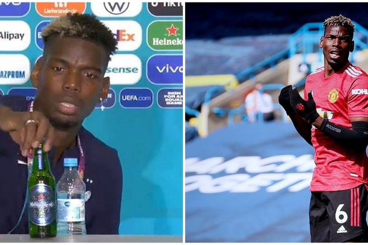 Heboh Ronaldo geser botol soda, Paul Pogba pindahkan botol bir