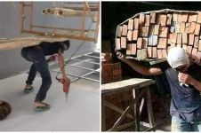 10 Aksi lucu tukang bangunan angkut material ini bikin garuk kepala