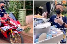 Viral potret tukang bubur ayam jualan naik motor sport, curi perhatian