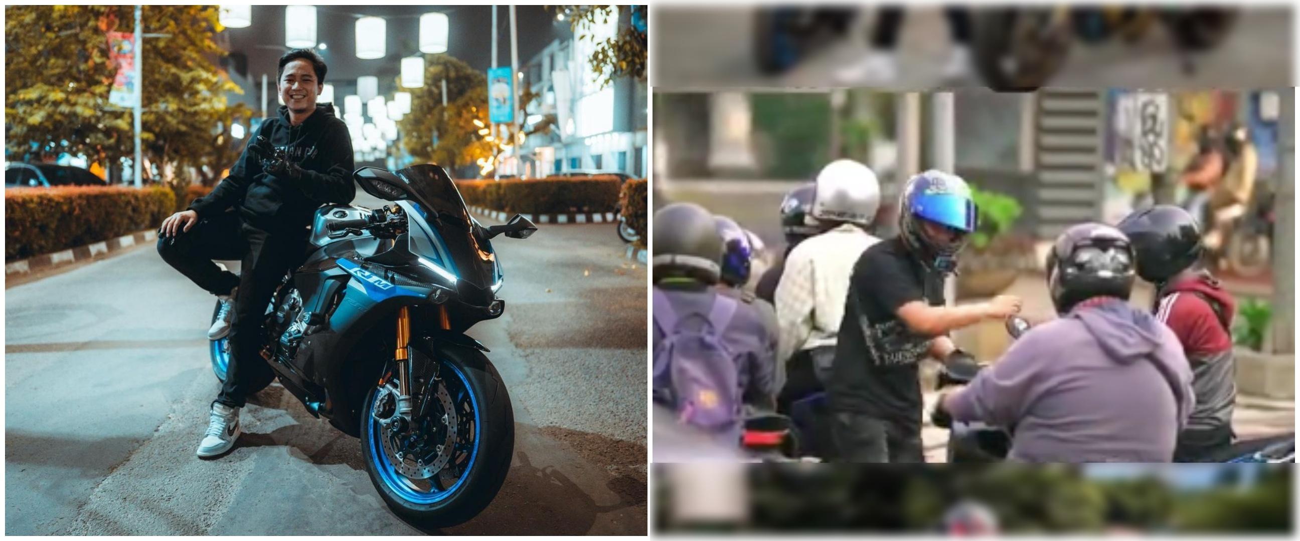 Aksi pemotor bagikan duit di jalanan, sosoknya ternyata pernah viral