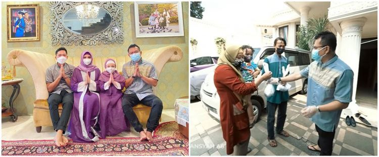 Ashanty dan keluarga masuk ke pelosok pemukiman warga untuk membagikan seribu paket daging kurban.