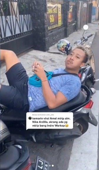 Heboh pria mirip Indro Warkop muda © Instagram/@tante_rempong_