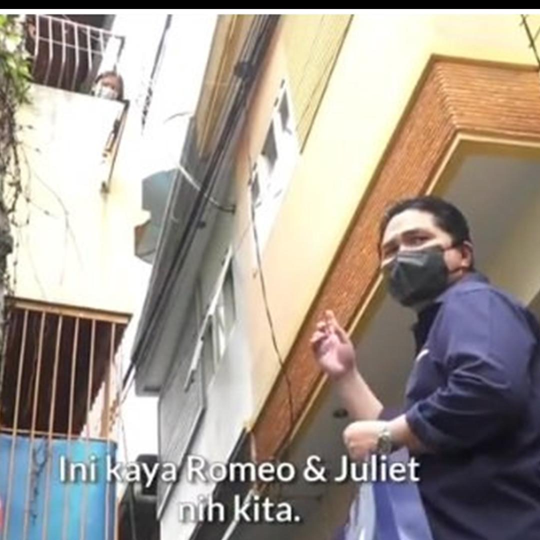 Momen Erick Thohir temui pasien isoman, bak adegan film Romeo Juliet