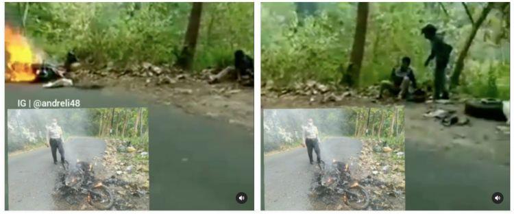 Kisah pilu kurir, sepeda motor hangus terbakar beserta paket customer
