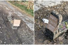 Potret 'makam' di tengah jalan ini jadi sorotan, alasannya bikin miris
