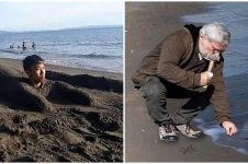 11 Tingkah lucu orang di pinggir pantai ini kreatifnya nyeleneh pol
