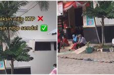 Cuma di Indonesia, antre vaksin pakai sandal hingga mengular