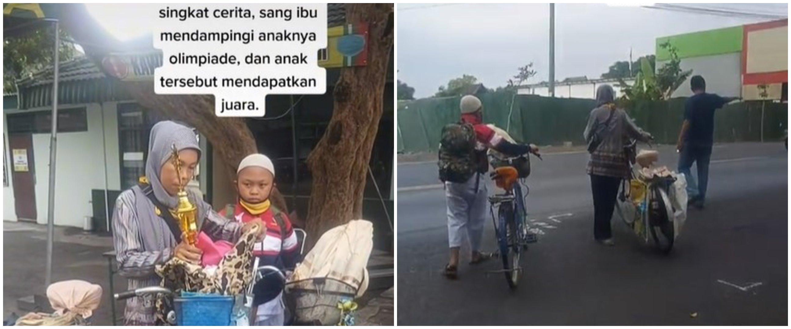 Perjuangan ibu antar anak olimpiade naik sepeda, penuh haru
