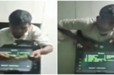 Momen pencuri apes, tersangkut di dinding ATM
