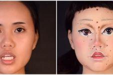 Aksi wanita makeup ala boneka Squid Game, hasilnya menakjubkan