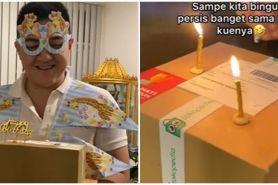 Viral potret kue ulang tahun unik berbentuk paket, dikira kardus