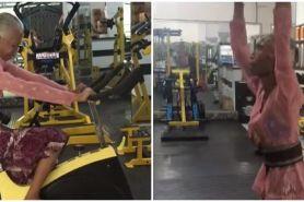 Viral nenek berkebaya fitnes di gym, bikin salut sekaligus ngilu