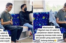 Momen pria salat sambil duduk di KRL, bikin penumpang lain salut