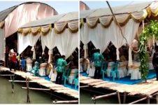 Viral lokasi pesta pernikahan di atas danau, panggungnya bikin panik